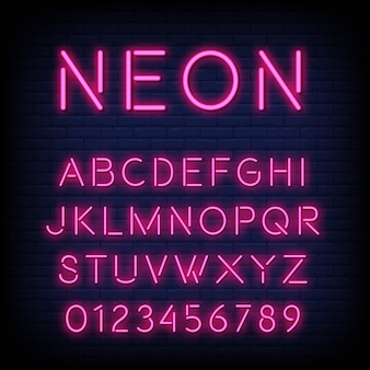 Alfabeto con letras y números en efecto neón