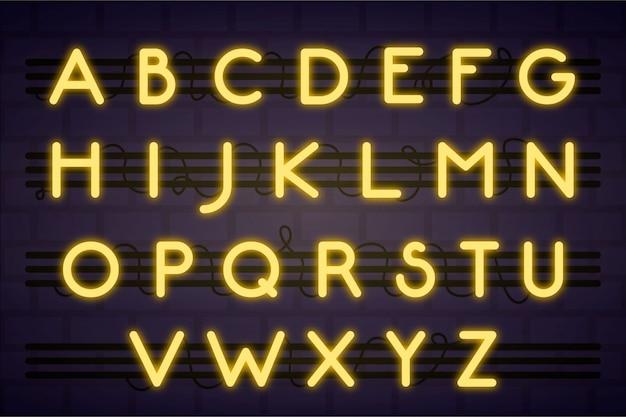 Alfabeto letrero de neón con letras amarillas