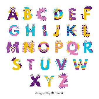 Alfabeto lindo monstruo de halloween