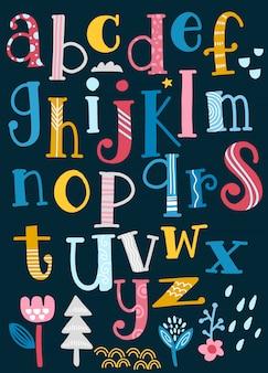 Alfabeto lindo con remolinos aislados en el fondo para el texto