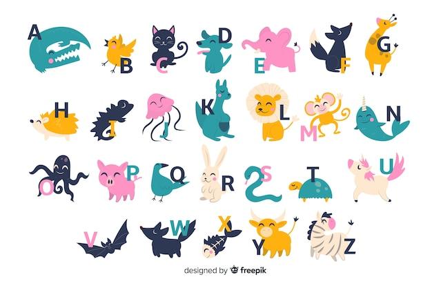 Alfabeto lindo zoológico con animales de dibujos animados aislado sobre fondo blanco