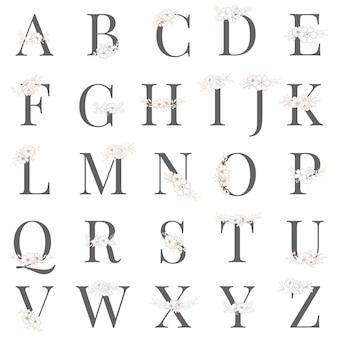 Alfabeto con línea dibujar flores estilo vintage para logo