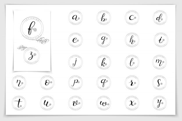 Alfabeto del logotipo del monograma escrito con pincel.