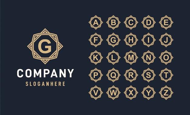 Alfabeto de lujo con logotipo de insignia de marco