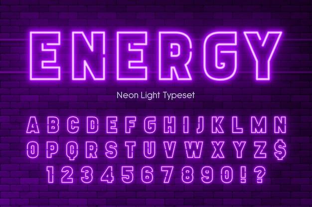 Alfabeto de luz de neón, diseño de fuente extra brillante.
