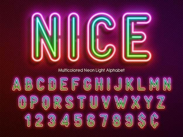 Alfabeto de luz de neón, fuente brillante extra multicolor