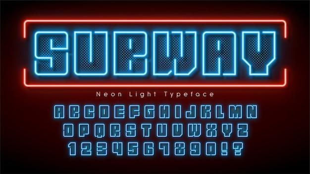 Alfabeto de luz de neón, fuente brillante extra multicolor.