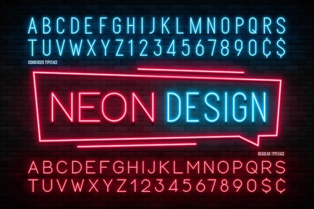 Alfabeto de luz de neón, fuente brillante extra realista.