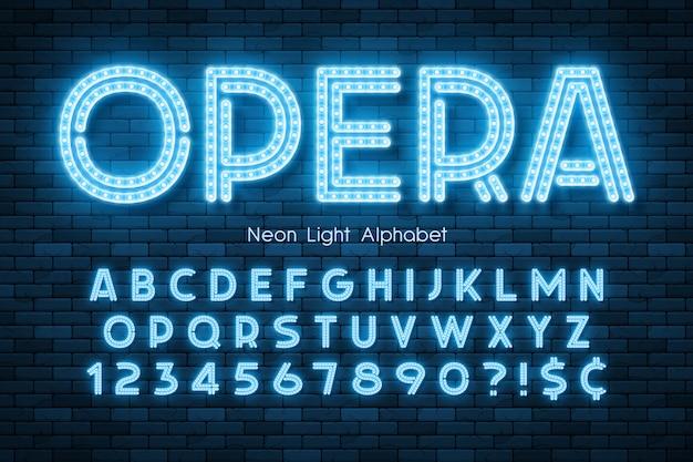 Alfabeto de luz de neón, fuente extra brillante led.