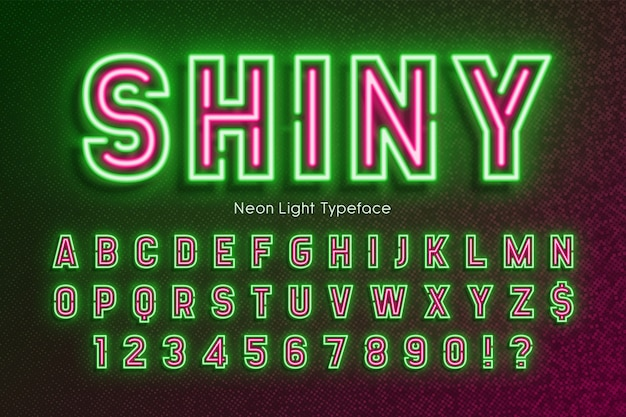 Alfabeto de luz de neón, fuente extra brillante, tipo