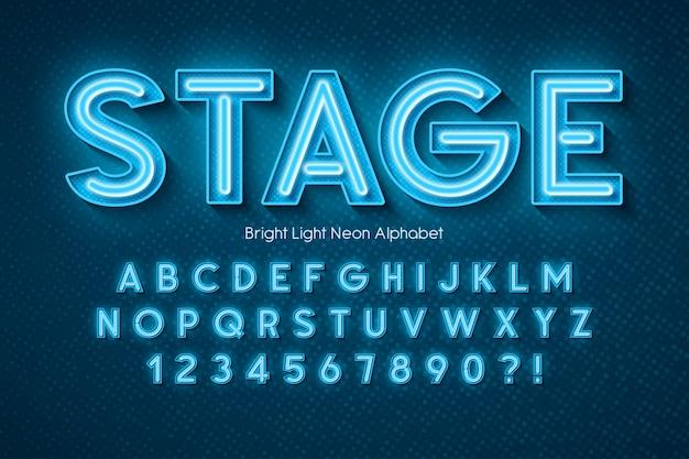 Alfabeto de luz de neón, fuente extra brillante.