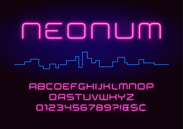 Alfabeto de luz de neón, fuente futurista brillante extra realista.