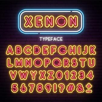 Alfabeto de luz de neón fuente retro vector