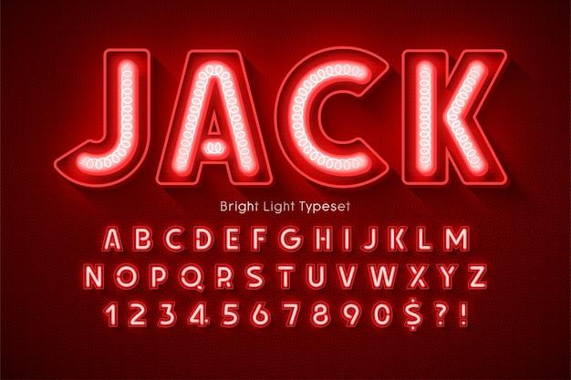 Alfabeto de luz de neón, tipo moderno extra brillante.