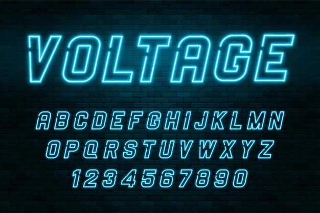 Alfabeto de luz de neón de voltaje, fuente brillante extra realista