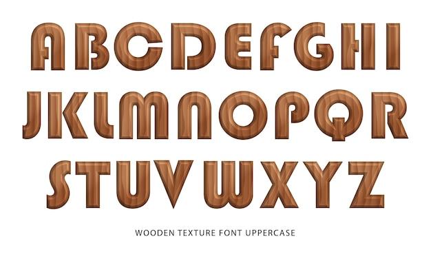 Alfabeto de mayúsculas de fuente de textura de madera de naturaleza