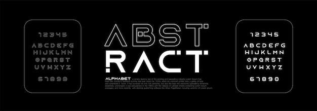 Alfabeto minimalista abstracto de línea delgada moderna fuente