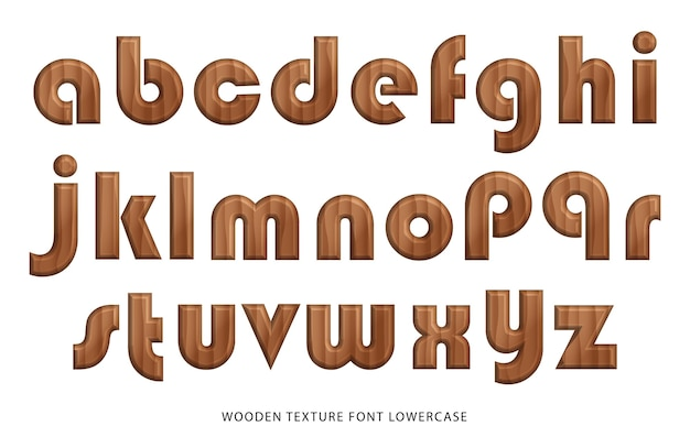 Alfabeto en minúscula de fuente de textura de madera de naturaleza