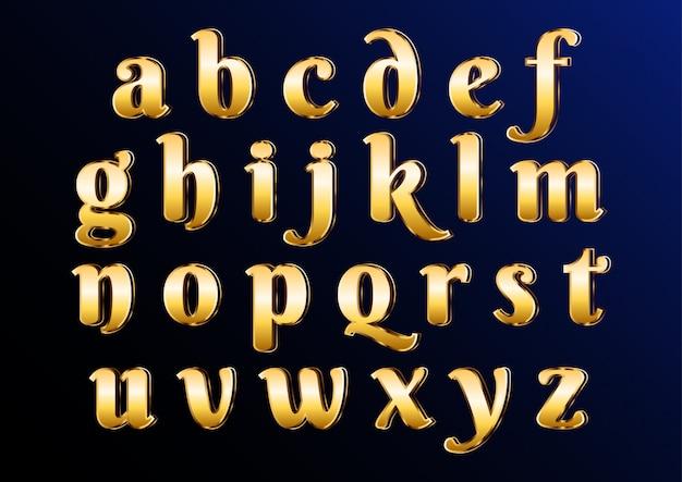 Alfabeto en minúsculas elegante clásico de oro oriental con letras