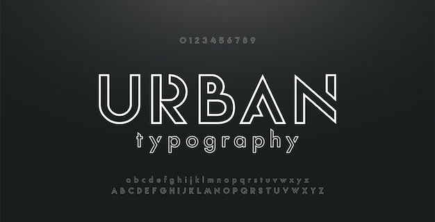 Alfabeto moderno abstracto urbano delgada línea neón fuente
