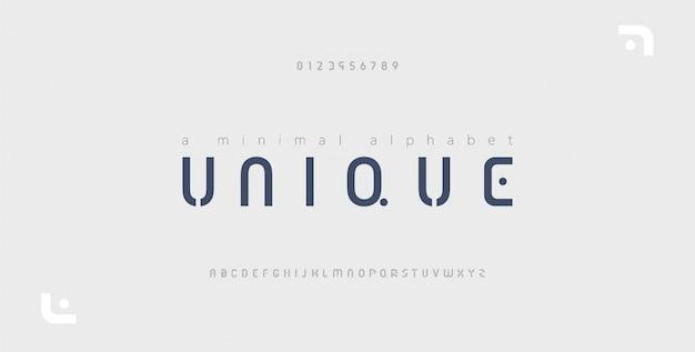 Alfabeto moderno creativo de fuente mínima