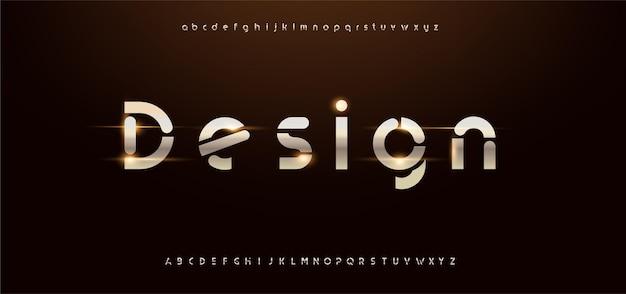 Alfabeto moderno de oro brillante. fuentes tipográficas futuristas