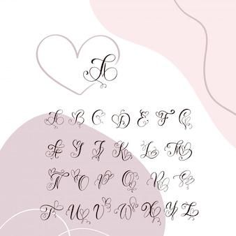 Alfabeto de monograma de caligrafía de corazón manuscrita.