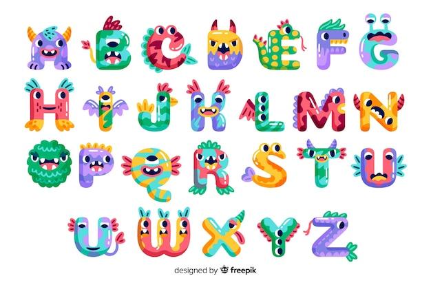 Alfabeto de monstruo de halloween de dibujos animados lindo