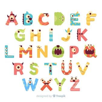 Alfabeto de monstruo de halloween con ojos divertidos