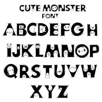 Alfabeto con monstruos lindos y divertidos.