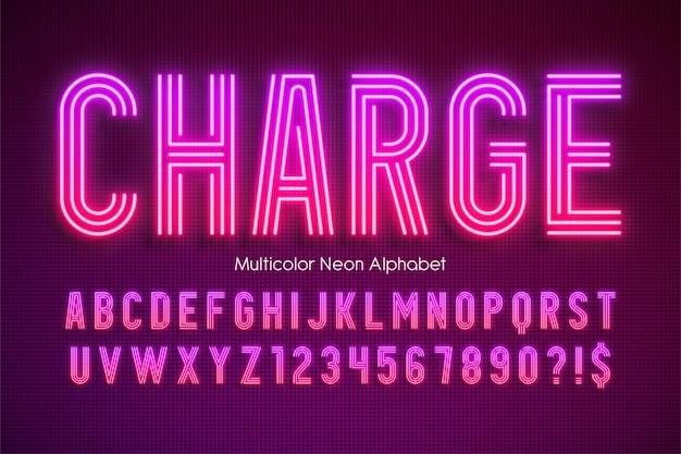 Alfabeto multicolor de luz de neón, tipo moderno extra brillante.