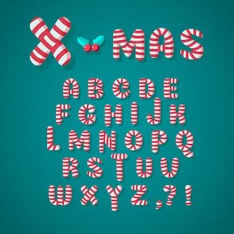 Alfabeto de navidad de bastón de caramelo