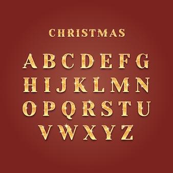 Alfabeto de navidad dorado brillante