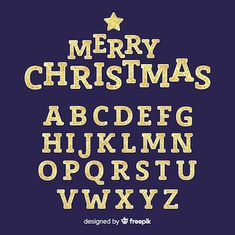 Alfabeto de navidad espumoso de oro