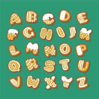 Alfabeto de navidad de ilustración de pan de jengibre