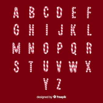 Alfabeto de navidad con letras de bastón de caramelo
