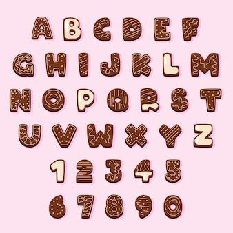 Alfabeto de navidad de pan de jengibre y chocolate