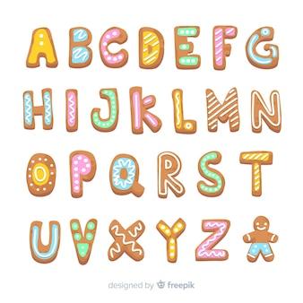 Alfabeto de navidad de pan de jengibre