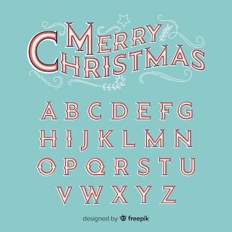 Alfabeto de la navidad de la vendimia