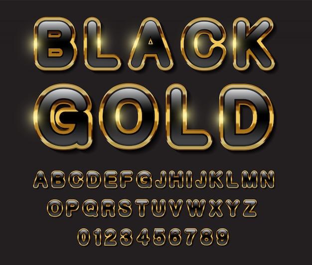 Alfabeto negro y dorado