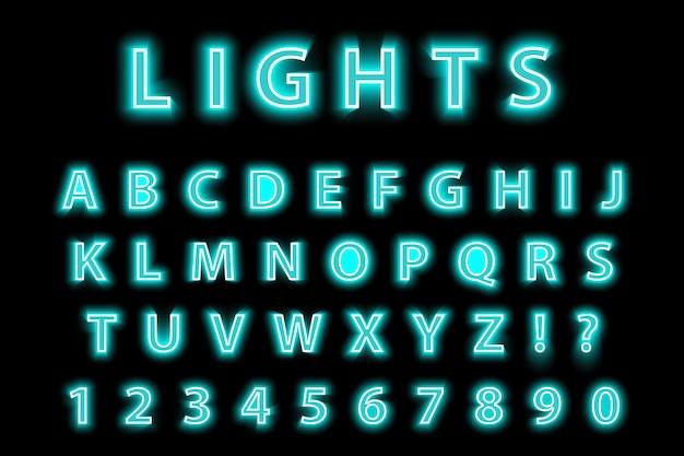 Alfabeto de neón azul moderno moderno sobre un fondo negro. fuente de letras led brillante. número luminiscente. ilustración.