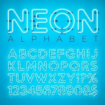 Alfabeto de neón brillante sobre fondo azul