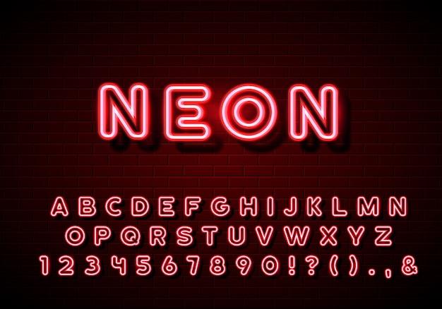 Alfabeto de neón compuesto. letras de resplandor de neón en fondo de pared de ladrillo. letreros de neón rojo.