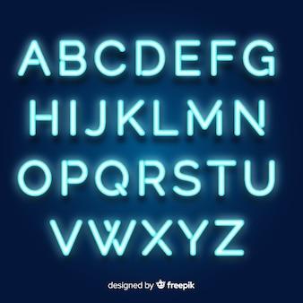 Alfabeto de neón en estilo retro