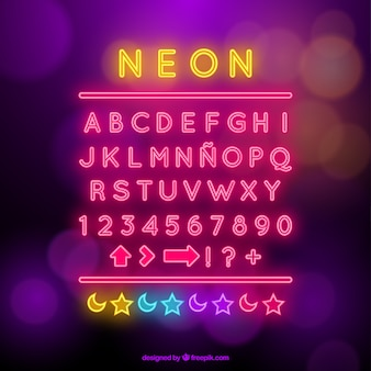 Alfabeto de neón con símbolos