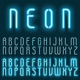 Alfabeto de neón de vector realista. fuente de letras brillantes brillantes