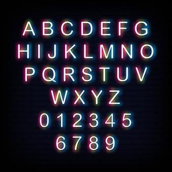 Alfabeto y número de letrero de neón