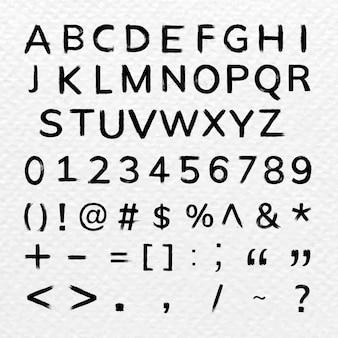 Alfabeto, números, símbolos conjunto de estilo de fuente dibujado a mano con trazo de pincel