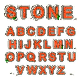 Alfabeto de piedra roja en vector