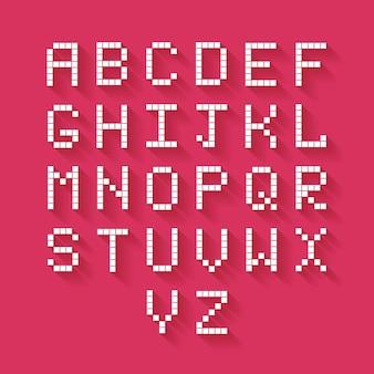 Alfabeto de píxeles planos vectoriales con sombra